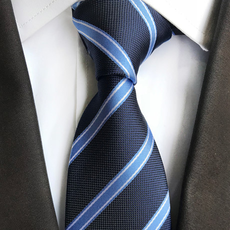 Cesar Striped Silk Tie // Navy + Blue Stripe