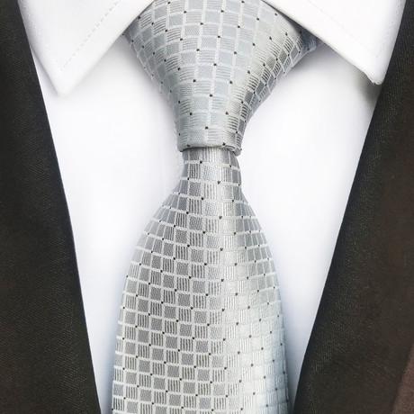 Martin Square Design Silk Tie // Silver