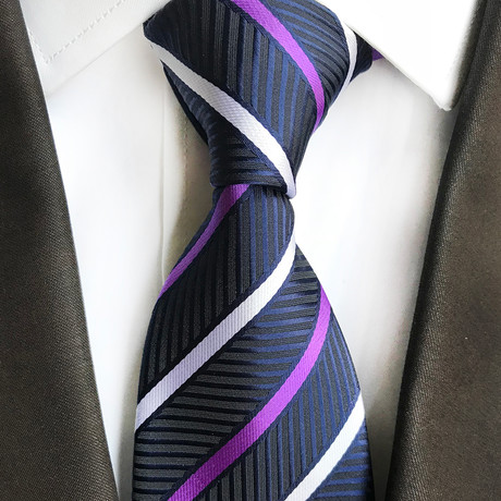 Josh Multi Stripe Silk Tie // Royal Blue + Purple + White