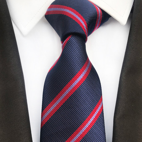 Smith Striped Silk Tie // Navy + Red