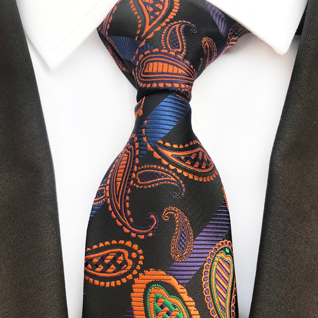 Harman Squirl Design Silk Tie // Gold + Green