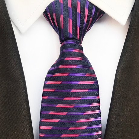 Barlow Striped Silk Tie // Navy + Purple + Pink
