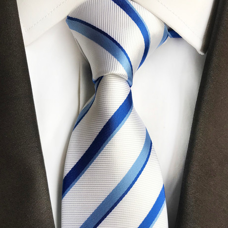 Luke Stripe Silk Tie // White + Blue