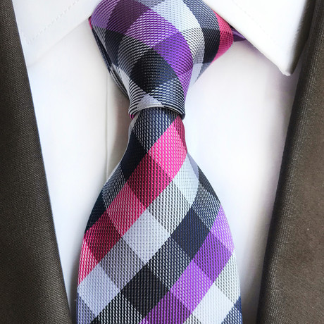Donald Cross Stripe Silk Tie // Purple + Pink + White