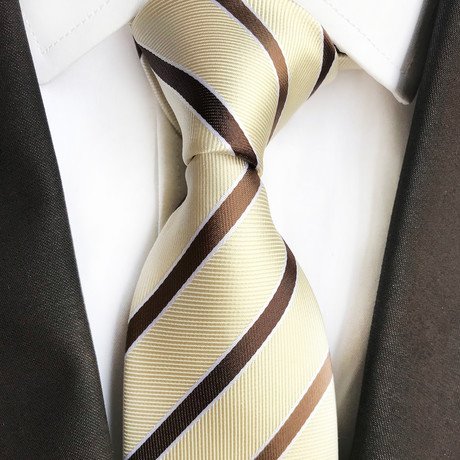 Nelson Stripe Silk Tie // Cream + Brown