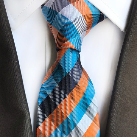 Art Cross Stripe Silk Tie // Aqua + Orange + White