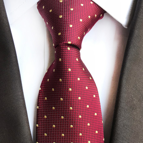 Arsh Mini Dot Silk Tie // Red