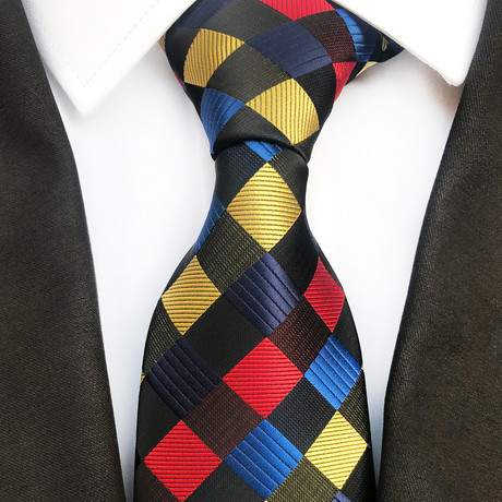 Alair Multicolor Silk Tie // Red + Yellow + Black