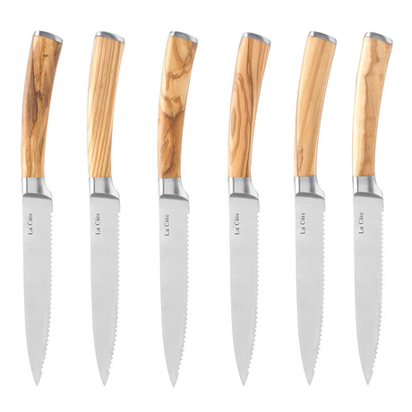 Olive Wood Steak Knives Set + Gift Box // 6 Pieces