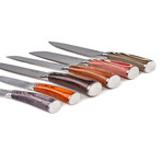 Pakka Wood Japanese Chef Knives Set// 6 Pieces
