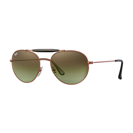 Unisex Round Metal Aviator Sunglasses // Gold + Light Brown