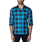Woven Button-Up // Turquoise + Black Checkered (S)
