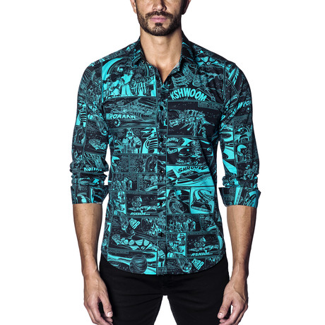 Woven Button-Up // Black + Turquoise Print (S)