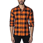 Woven Button-Up // Orange + Black Checkered (XL)
