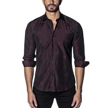 Woven Long Sleeve Shirt // Burgundy Stars (S)