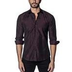 Woven Long Sleeve Shirt // Burgundy Stars (2XL)