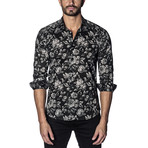Woven Button-Up // Black + Gray Floral Print (S)