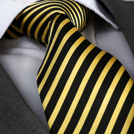 Amedeo Exclusive // Silk Tie // Yellow + Black (Yellow, Black)