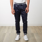 Two-Toned Camo Track Pants // Navy Camo (M)
