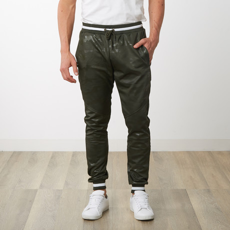 Two-Toned Camo Track Pants // Military Green Camo (S)