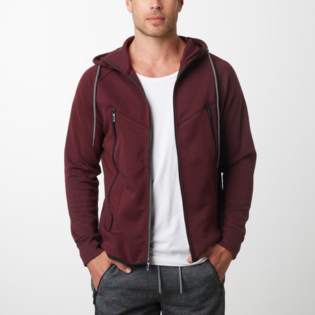 Tech Fleece Black Seal Zipper Hoodie // Burgundy (S)