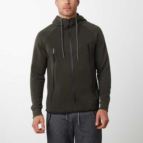 Tech Fleece Black Seal Zipper Hoodie // Olive (S)