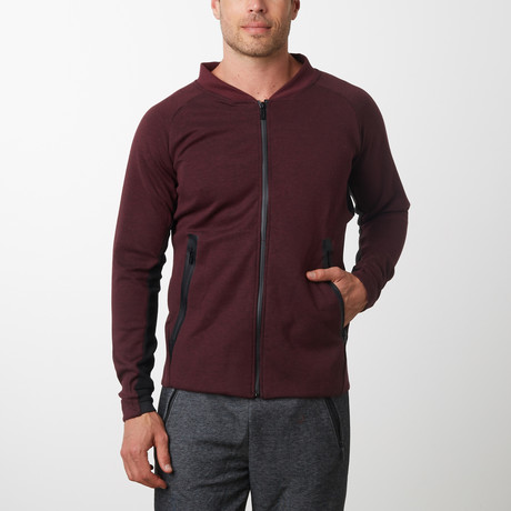 Tech Fleece Full Zip Up Cardigan // Burgundy (S)