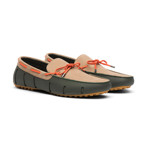 Briaded Lace Nubuck Lux Loafer Driver  // Olive + Gaucho Gum (US: 7)