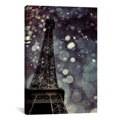 """Paris Is Snowing // Chelsea Victoria (26""""W x 18""""H x 0.75""""D)"""