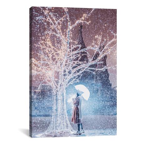 """Magic Snowfall In Moscow // Hobopeeba (26""""W x 18""""H x 0.75""""D)"""