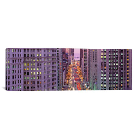 "Aerial View Of An Urban Street // Michigan Avenue, Chicago // Panoramic Images (12""W x 36""H x 0.75""D)"