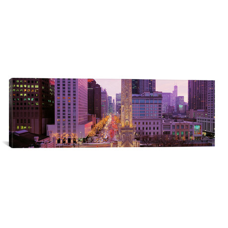 "Twilight, Downtown, City Scene // Loop, Chicago, Illinois // Panoramic Images (12""W x 36""H x 0.75""D)"