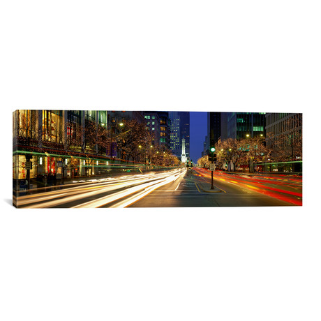 "Blurred Motion, Cars, Christmas Lights // Michigan Ave, Chicago // Panoramic Images (12""W x 36""H x 0.75""D)"