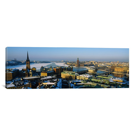 "High angle view of a city, Stockholm, Sweden // Panoramic Images (12""W x 36""H x 0.75""D)"