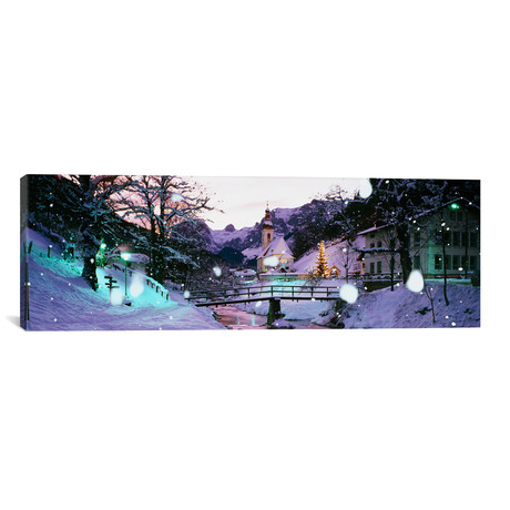 "Church on a snow covered hill // Rothenburg, Bavaria, Germany // Panoramic Images (12""W x 36""H x 0.75""D)"