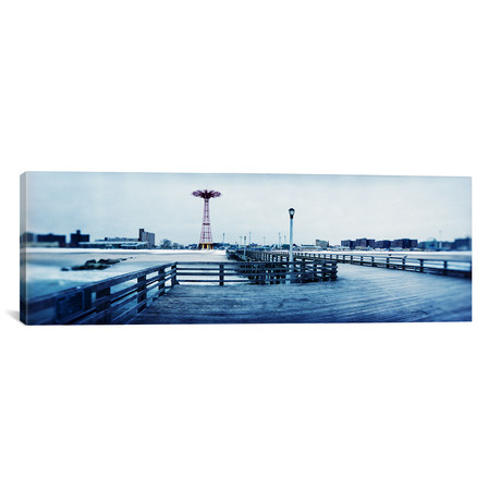 "City in winter // Coney Island, Brooklyn, New York City // Panoramic Images (12""W x 36""H x 0.75""D)"