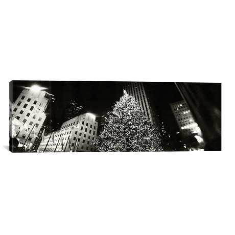"Christmas tree lit up at night // Rockefeller Center, Manhattan // Panoramic Images (12""W x 36""H x 0.75""D)"