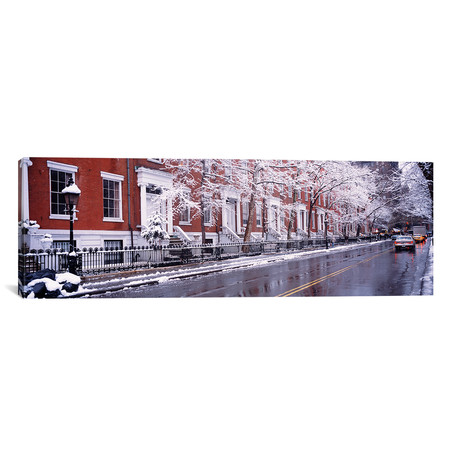 "Winter, Snow In Washington Square // New York City // Panoramic Images (12""W x 36""H x 0.75""D)"