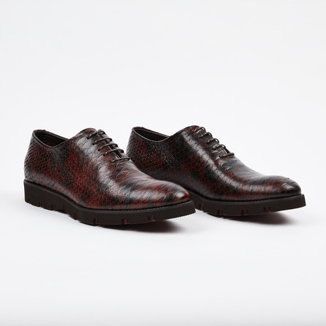 Python Lace Up Casual Shoe // Burgundy (US: 7)