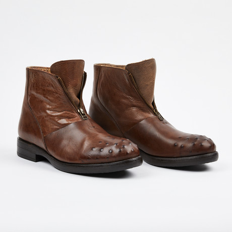 Zipper Boot + Ostrich Design Toe // Brown (US: 7)