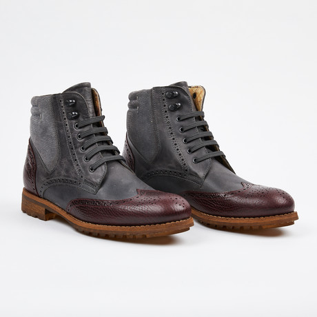 Wing Tip Lace up Boot // Burgundy + Gray (US: 7)