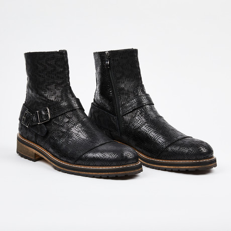 Laser Leather Zipper Boot + Side Buckle // Black (US: 7)