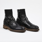 Laser Leather Zipper Boot + Side Buckle // Black (US: 8)