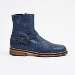 Laser Leather Zipper Boot + Side Buckle // Blue (US: 12)