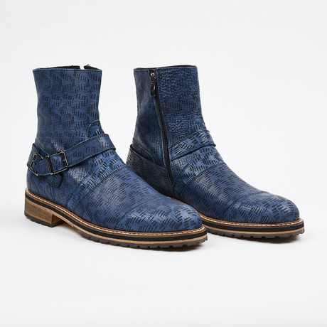Laser Leather Zipper Boot + Side Buckle // Blue (US: 7)