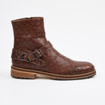 Laser Leather Zipper Boot + Side Buckle // Brown (US: 9)