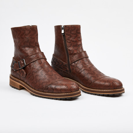Laser Leather Zipper Boot + Side Buckle // Brown (US: 7)