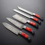 Damascus Kitchen Knives // Set of 5 // KH-90