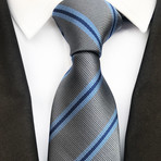 Harris Tie // Gray + Blue Stripe
