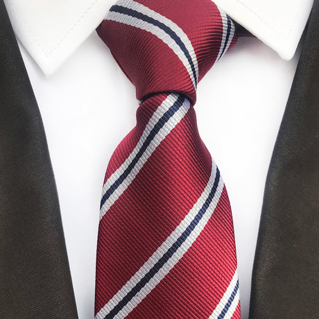 Lennox Tie // Red + White + Black Stripes